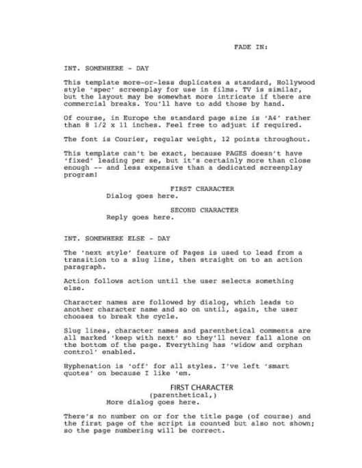 Classic Screenplay with Director Cues Page One