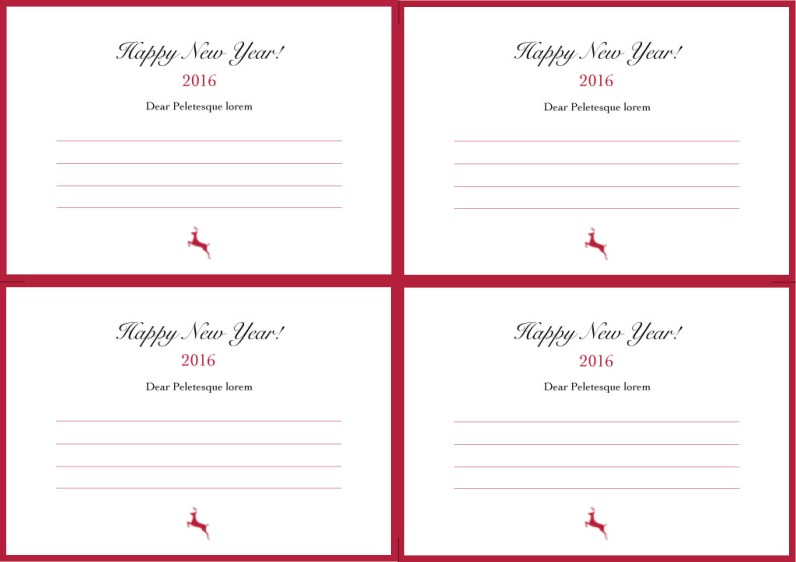 Happy New Year Cards in Red and White Back