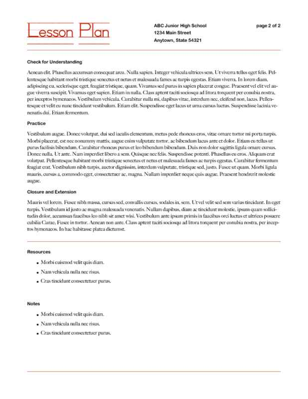 Lesson Plan Framework with Learning Strategies Page Two