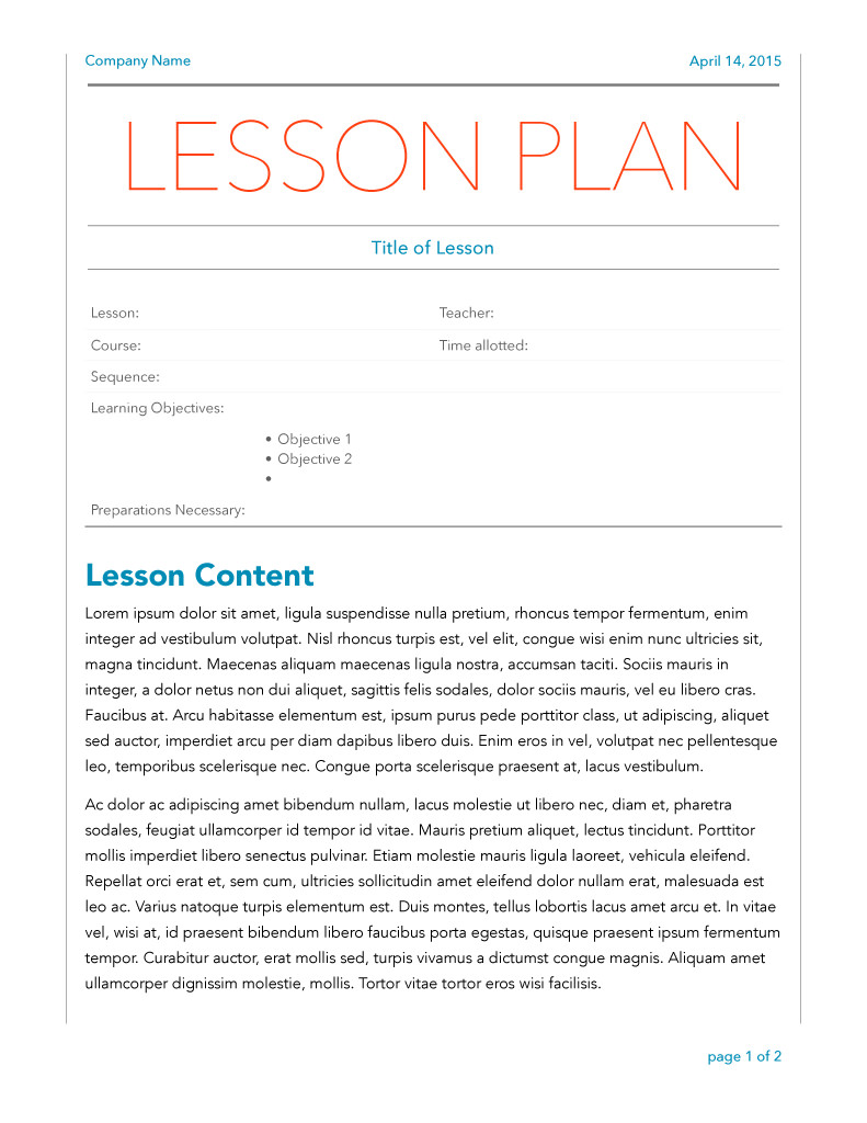 Modern Lesson Plan with Large Header Page One