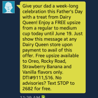 Free Dairy Queen Upsize for Fathers Day