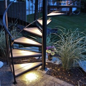 Spiral Stairs For Deck And Patio Great Lakes Metal Fabrication | Spiral Staircase Wooden Steps | Tiny House | Wrought Iron | Rustic | Creative | 2 Story