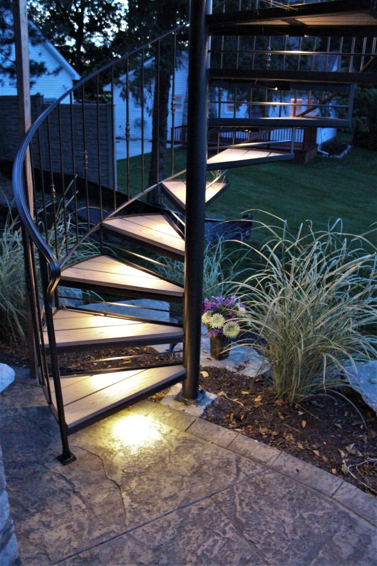 Spiral Stairs For Deck And Patio Great Lakes Metal Fabrication | Iron Handrails For Outdoor Steps | Deck | Simple | Outside | Free Standing | Galvanized Iron