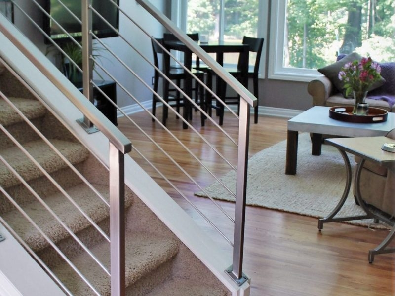 Horizontal Railing In Stainless Steel Great Lakes Metal Fabrication | Wood And Metal Handrail | Farmhouse | Contemporary | Indoor | Industrial | Modern