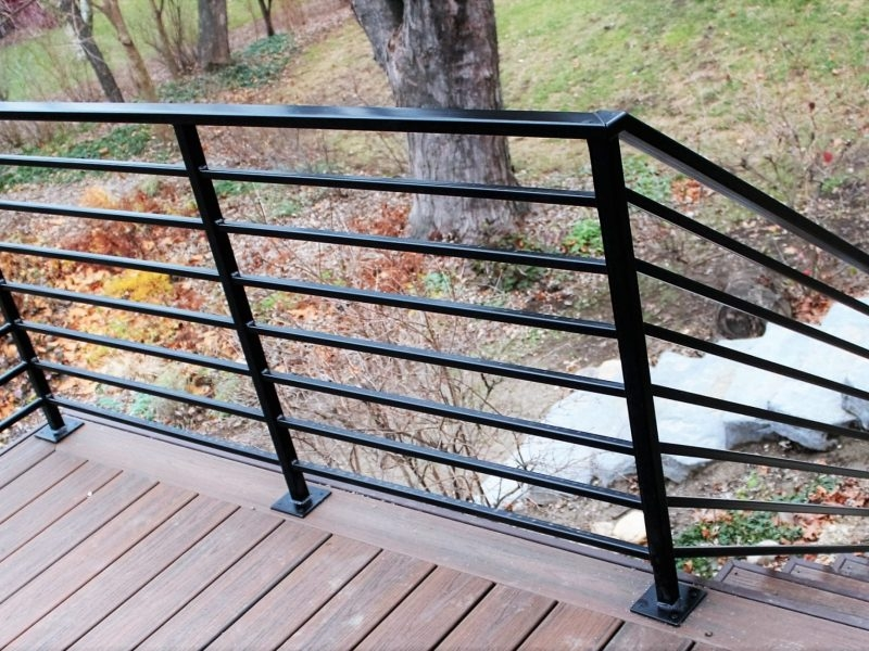 Horizontal Metal Railing For Deck Great Lakes Metal Fabrication | Graspable Handrail For Deck Stairs | Simple | Made 2X4 | 2 Foot | Code Compliant | Tall