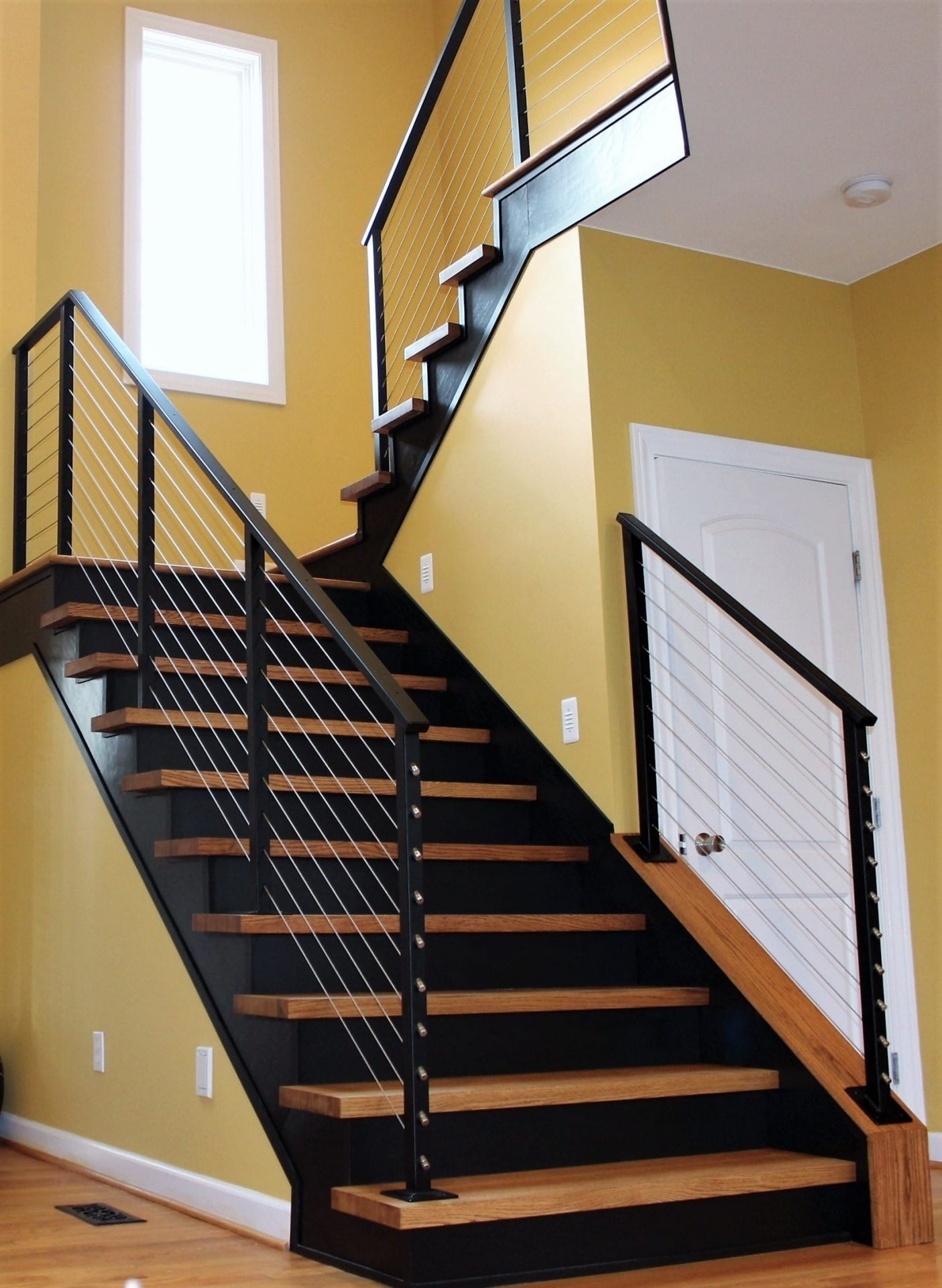 Cable Rail For Interior Wood Stairs Great Lakes Metal Fabrication | Metal And Wood Interior Railings | Contemporary | Art Craft | Black Glass Interior | Wood Cap | Metal Exterior Brown