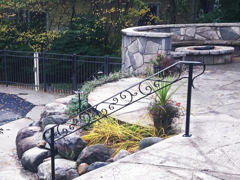 Wrought Iron Handrail At Pool Great Lakes Metal Fabrication   Iron Steps For Home   Banister   Railing   Near Me Handrail   Manufactured Home   Mobile Home