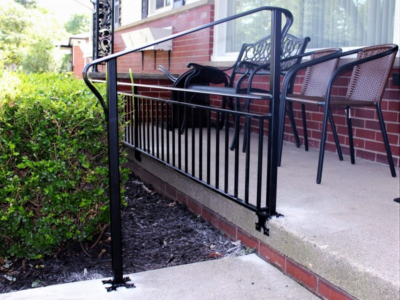 Knee Rail And Handrail At Porch Step Great Lakes Metal Fabrication   Metal Outdoor Handrails For Stairs   Front Porch   Hand Rail   Concrete Steps   Stainless Steel   Wrought Iron Handrails