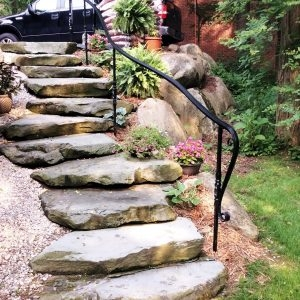 Spiral Staircase Manufacturer Great Lakes Metal Fabrication   Outdoor Railings For Stone Steps   Screen Porch   Modern Outdoor   Backyard   Stone Patio   Fancy