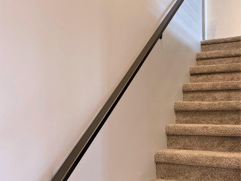 Wall Mounted Rectangular Metal Handrail Great Lakes Metal | Wall Mounted Stair Railing | Rustic Wooden Handrail | Wall Mount Window | 90 Degree Stair | Drawing Wall | Wall Fixed Metal