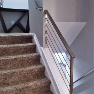 Horizontal Railing In Stainless Steel Great Lakes Metal Fabrication | Modern Metal Stair Railings Interior | Black Metal | Simple 2Nd Floor Railing Wood Stairs Iron Railing Design | Stair Heavy | Overlapping | Aluminum