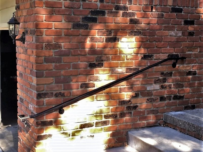 Exterior Metal Wrap Around Handrail Great Lakes Metal Fabrication   Exterior Handrails For Brick Steps   Staircase   Vinyl Railing   Wrap Around   Deck Railing   Wood