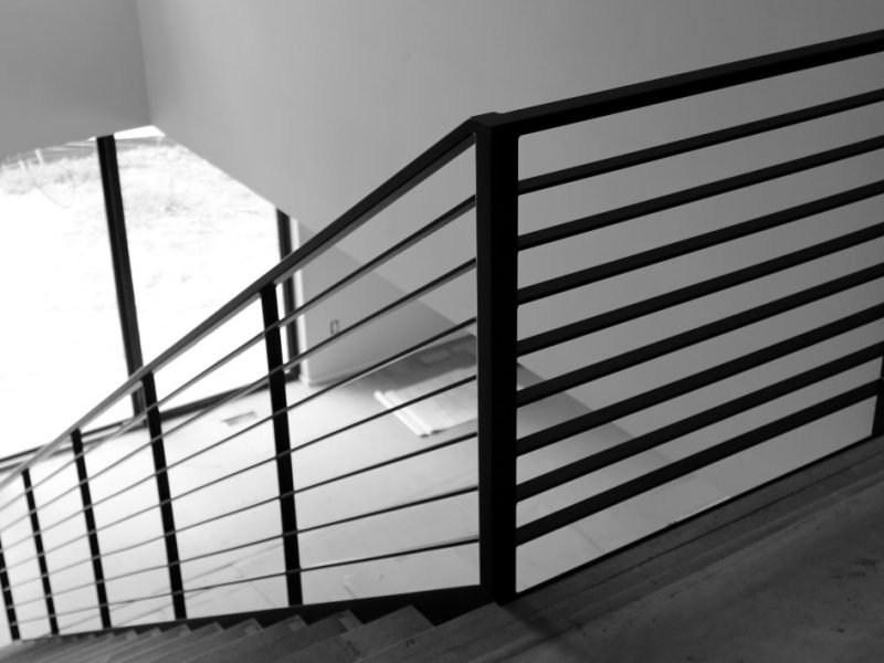 Luxury Horizontal Metal Railing For Stairs Great Lakes Metal | Modern Black Metal Stair Railing | Balcony | Really Thin | Outdoor | Metal Mesh | Dark Wood