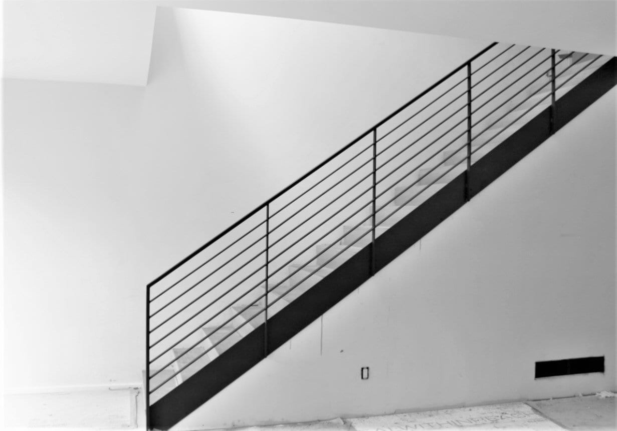 Luxury Horizontal Metal Railing For Stairs Great Lakes Metal | Black Horizontal Stair Railing | Metal | Linear | Interior | Wood | Exterior