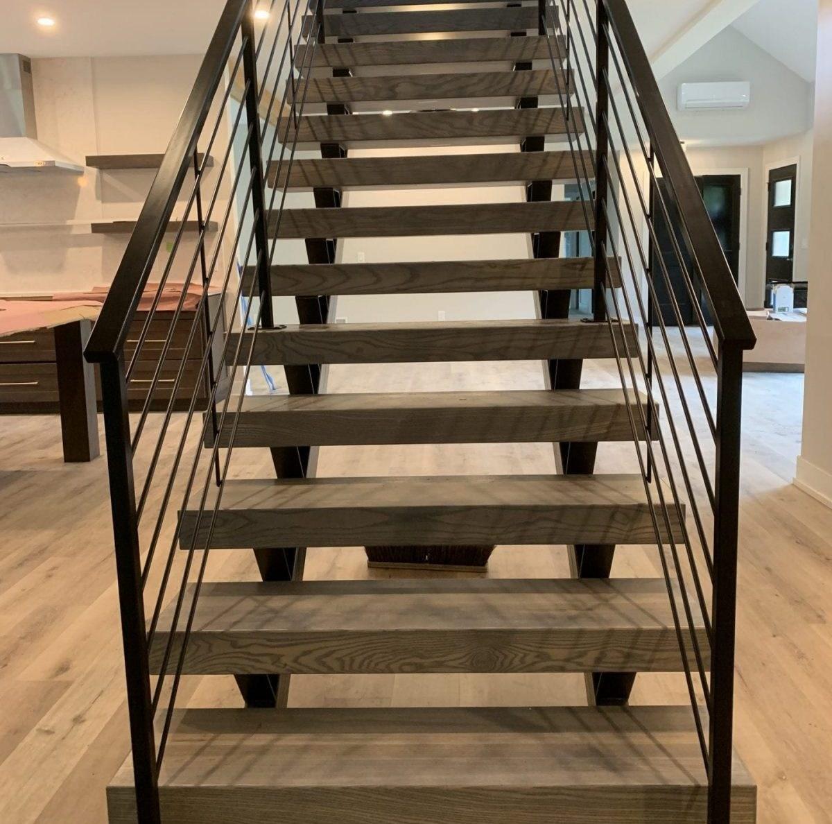 Double Stringer Floating Stairs Great Lakes Metal Fabrication   Wood Caps For Stairs   Carpet   Hardwood   Red Oak   Hardwood Flooring   Reclaimed Wood