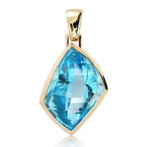Handmade 9 Ct Yellow Gold Pendant with a 54 Carats Blue Topaz