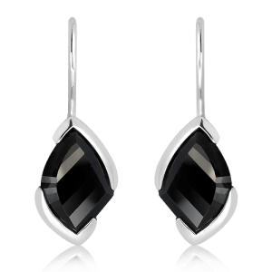 Laser Cut Black Quartz Silver Earrings