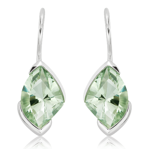 Laser Faceted Green Amethyst Earrings