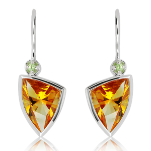 Laser Faceted Citrine Green Amethyst Earrings