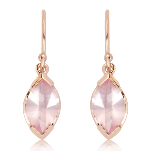 Laser Cut Rose Quartz Earrings in Rose Gold