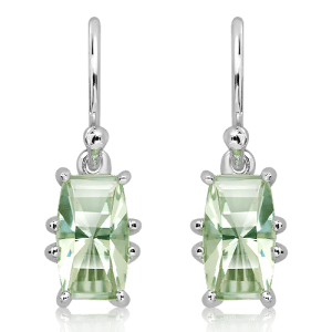 Green Amethyst Laser Faceted Silver Earrings