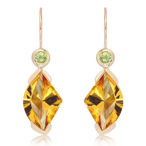 Laser Faceted Citrine and Peridots Gold Earrings