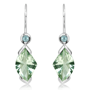 Green Amethyst and Blue Topaz Silver Earrings