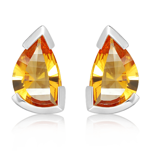 Laser Cut Citrine Studs in Silver