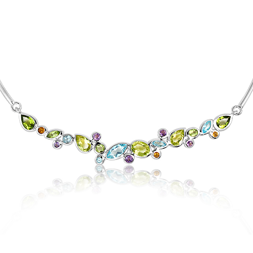 Sterling Silver Necklace with Natural stones
