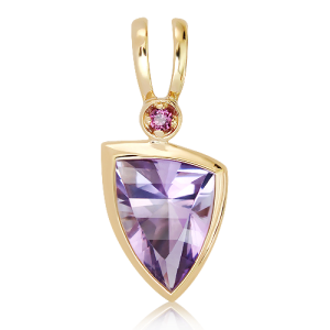 9 Ct Gold Pendant with Laser Cut Amethyst and Garnet