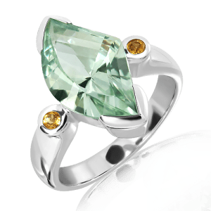 Laser Cut Green Amethyst and Citrines in White Gold Ring