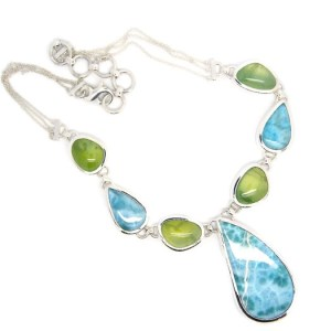 Handmade Sterling Silver Necklace with Larimar and Prehnite Stones