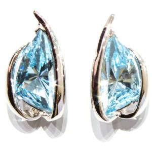 Laser Cut Blue Topaz Sterling Silver Earrings
