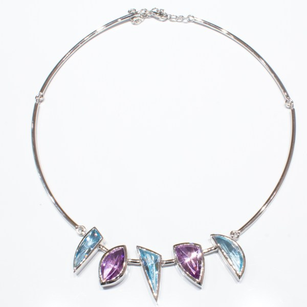 Amethyst and Blue Topaz Special Faceted Necklace