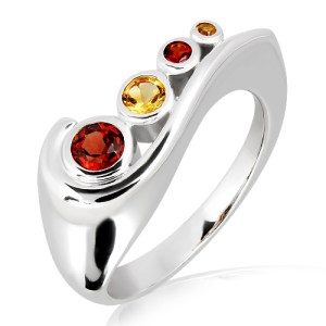 Sterling Silver Ring with Garnets & Citrines