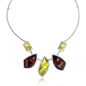 Handmade Sterling Silver Necklace with Laser Cut Cognac Quartz and Lemon Quartz