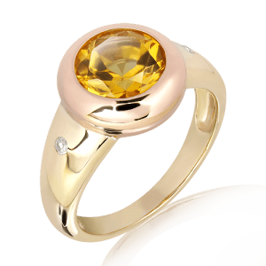 Handmade Ring in Rose and Yellow Gold
