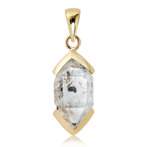 Handmade Herkimer Diamond Pendant in 9 Ct Gold