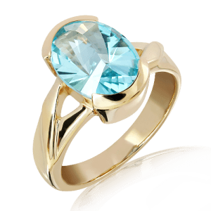 Laser Cut Blue Topaz Gold Ring