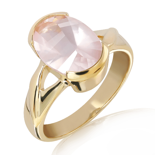 Laser Cut Rose Quartz in Gold Ring
