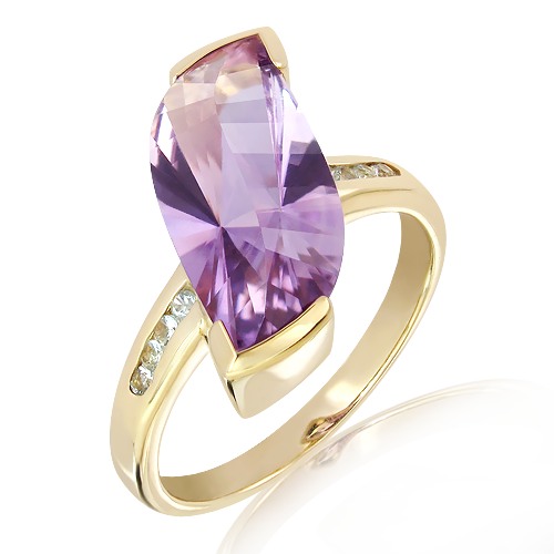Laser Cut Amethyst in Gold Ring with Diamonds