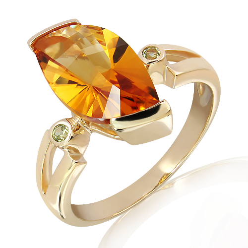 Laser Cut Citrine and Peridots in Gold Ring