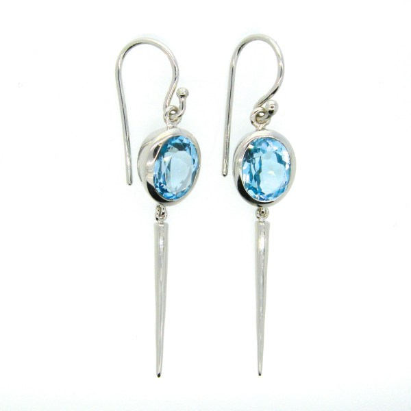 Handmade Sterling Silver Earrings with Blue Topaz