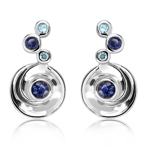Sterling Silver Earrings with Natural Blue Topaz and Iolite Stones