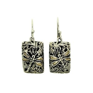 Sterling Silver Earrings with solid 18 ct Gold Details