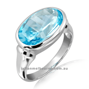Laser Cut Blue Topaz Sterling Silver Ring