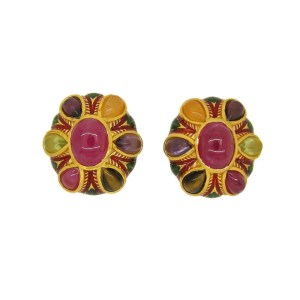 Enamel Italian Earrings with Low Grade Ruby and Natural Stones
