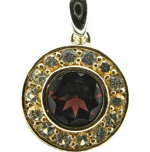 Rose Gold and Silver Pendant with Garnet and White Sapphires