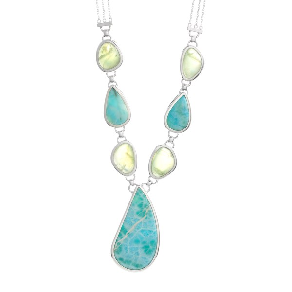 Sterling Silver Necklace with Larimar and Prehnite Stones.