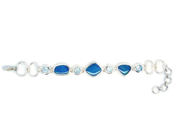 Opals and Blue Topaz in Handmade Silver Bracelet